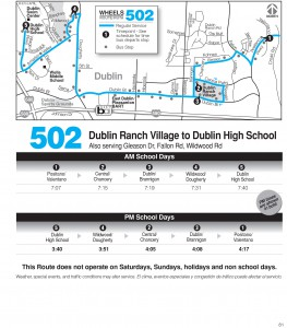 Wheels route 502 map and schedule