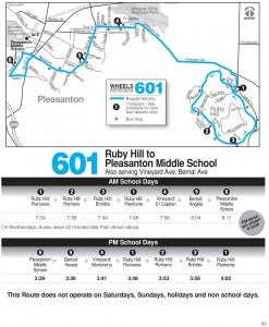 Wheels route 601 map and schedule