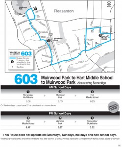 Wheels route 603 map and schedule