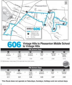 Wheels route 606 map and schedule