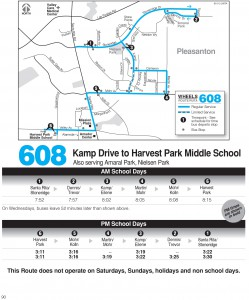 Wheels route 608 map and schedule