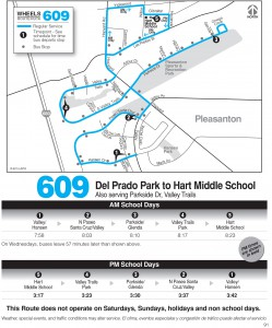 Wheels route 609 map and schedule