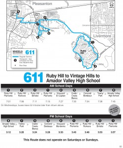 Wheels route 611 map and schedule