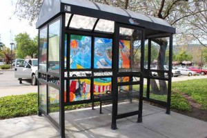 Decorated bus stop enclosure