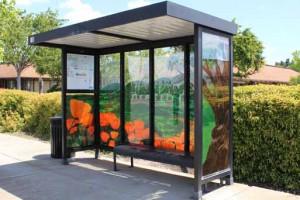 Decorated bus stop enclosure