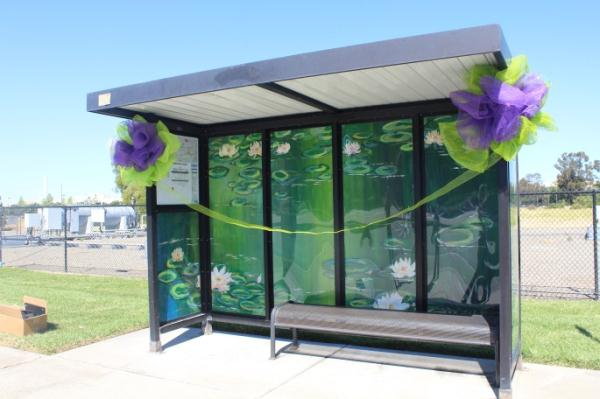 Decorated bus stop shelter