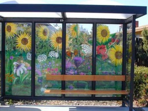Mural on bus stop shelter