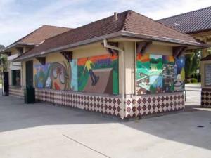 Mural on bus depot