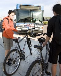 Loading bikes on bus