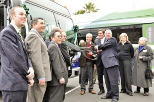Ribbon cutting of new bus
