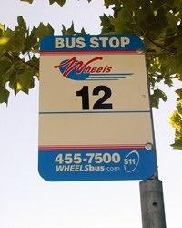 Wheels bus street sign