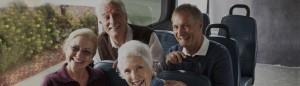 Seniors on bus chatting