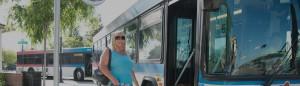 Woman boarding wheels bus