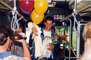 Celebration on bus