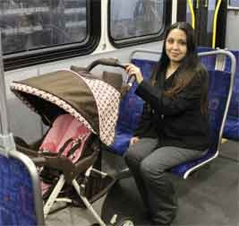 Woman on bus with stroller