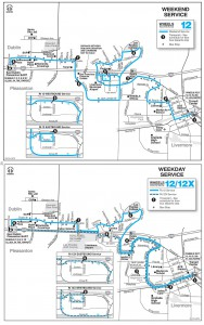 Route 12/12x Schedule Map