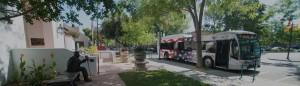 American Flag bus at bus stop