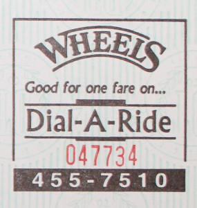 Wheels Dial-a-ride ticket