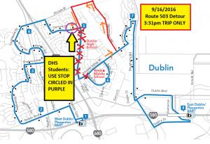 Route 503 Homecoming Parade Detour Map