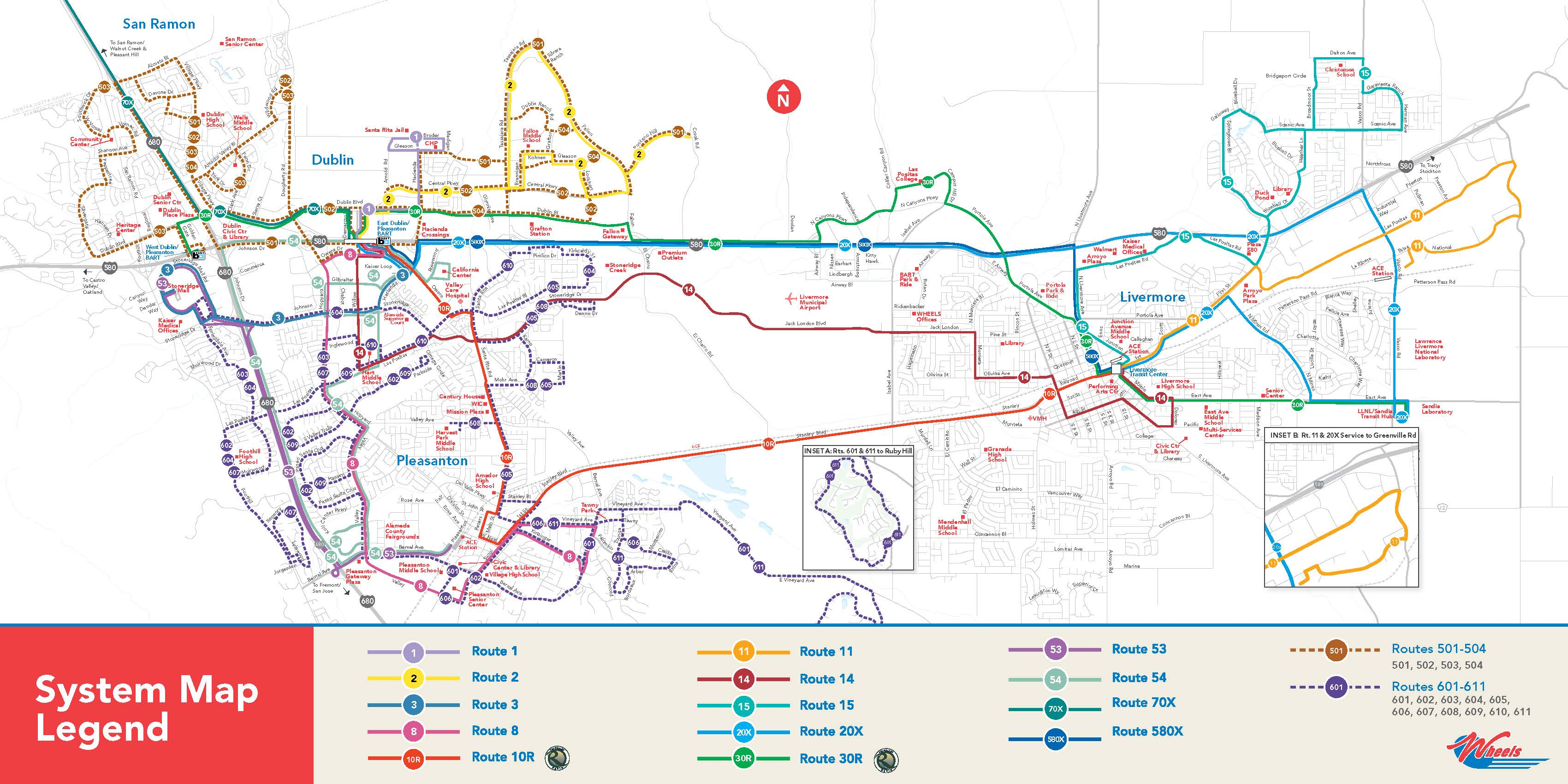 Livermore Amador Valley Transit Authority System Map
