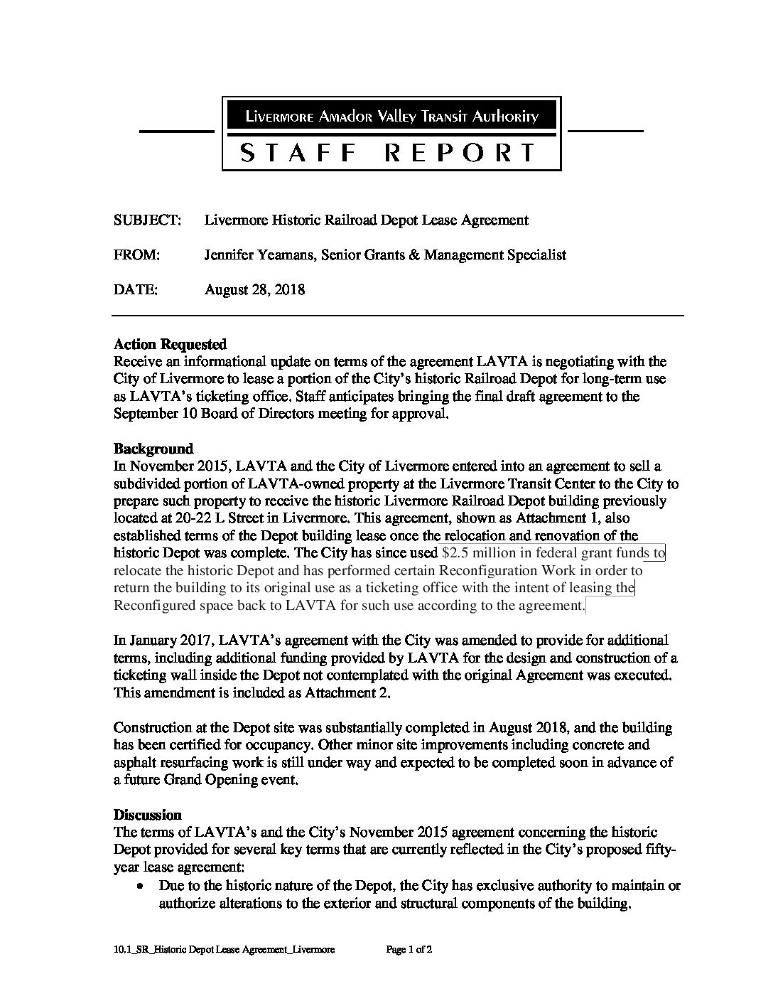 101srhistoric Depot Lease Agreement City Of Livermore
