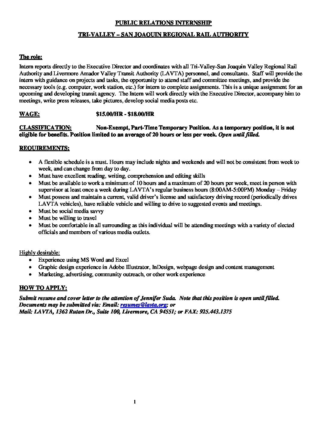Public Relations Intern Job Description |